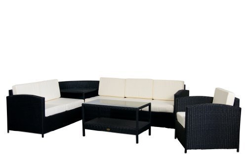 essella polyrattan garten eckbank london in schwarz mit extra starkem 1 4mm geflecht jetzt kaufen. Black Bedroom Furniture Sets. Home Design Ideas