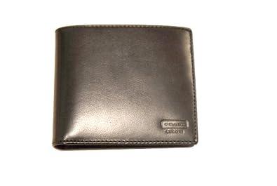 Coach Men's Buffalo Leather Compact ID Wallet 74764 Black