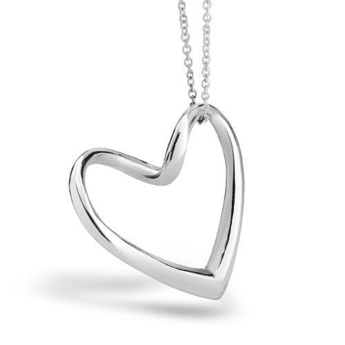 Bling Jewelry 925 Sterling Silver Floating Heart Pendant Necklace 16in