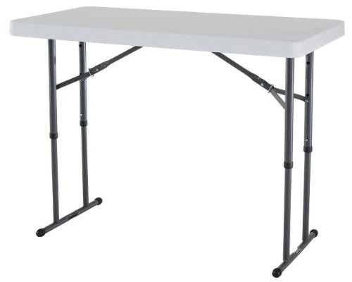 Lifetime 4-Foot Adjustable Height Folding Table Color: White