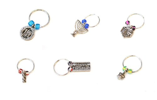 Hanukkah, Chanuka, 6 (SIX) x Hanukkah Wine Charms: Dreidels, Menorah, Happy Hanukkah, Gelt & Candles. Great Gift For: Bar Mitzvah Bat Mitzvah Rosh Hashanah Chanukah Wedding Shabbat Seder Night Passover Purim and Other Jewish Holiday