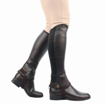 Saxon Girls Equileather Half Chaps Boots, Black, Child Large