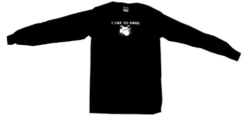 I Like To Bang Drums Drum Set Logo Women'S Tee Shirt Small-Black Babydoll Long Sleeve