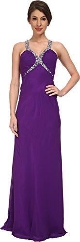Faviana Women's Chiffon V-Neck Shirred Bust Dress 7519 Purple Dress 0
