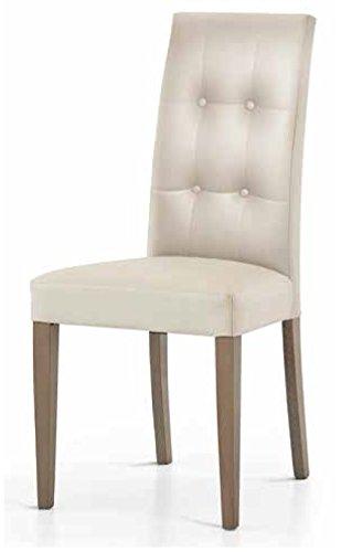 Montefioredesign - Set 2 sedie In Ecopelle Tortora Con Schienale Trapuntato Juliet