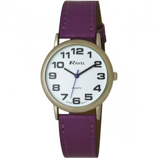 Ladies Easy Read, Large Purple Watch With Extra