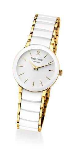 Pierre Lannier 014G500 - Reloj analógico de cuarzo para mujer, correa de cerámica color blanco