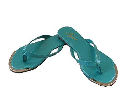 Iynx Apple-1 Womens Flat Gold Toe Thong Flip Flop Aqua