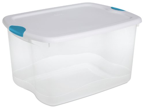 Sterilite 18888004 66-Quart See-Through Storage Box with Latching Lid and Blue Aquarium Handle, 4 Pack