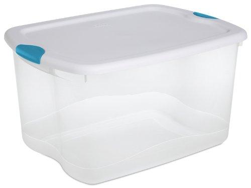 Sterilite 18888004 66-Quart See-Through Storage Box with Latching Lid and Blue Aquarium Handle, 4 Pack