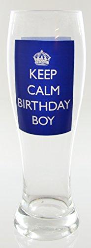 "Blue & White Printed ""Keep Calm Birthday Boy"" Beer Glass"