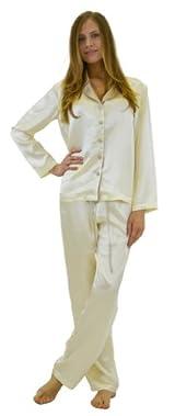 Silk Pajama Set - Ivory/Taupe