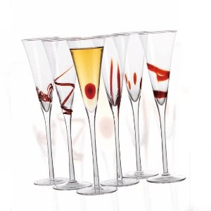 Chateau orleans champagne flute glasses in matching red designs set of 6 - Flute a champagne design ...