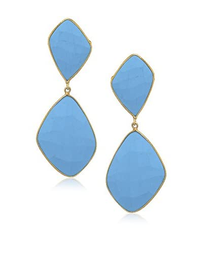 Rivka Friedman Signature Collection Matte Turquoise Double Drop Earrings