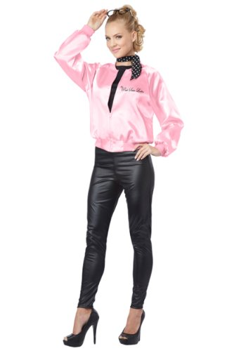 [Adult Satin Pink Ladies Jacket X-Large] (Pink Lady Grease Costumes)