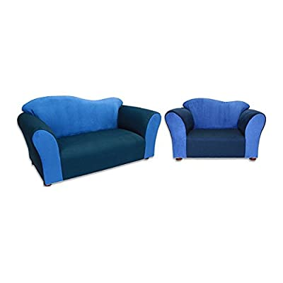 Fantasy Furniture Wave Sofa and Chair Set - Navy and Blue
