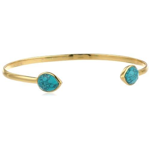Argento Vivo Gold Turquoise Open Bracelet, 5.5