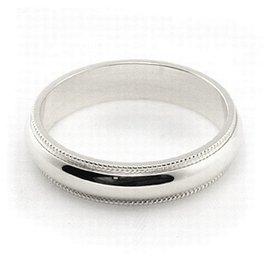 10K White Gold Men's & Women's Wedding Bands 4mm Milgrain, 11.25