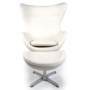 Amazon Com Kardiel Egg Chair Amp Ottoman Cream White