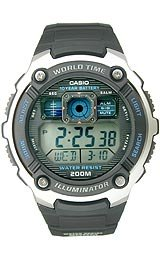 Casio Illuminator World Time Digital Grey Dial Men's watch #AE2000W-1AV