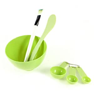 uxcell Grass Green 4 in 1 DIY Facial Mask Bowl Brush Stick Measuring Spoon