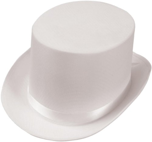 Satin (White) Adult Top Hat (One Size Fits Most Adults) [Apparel] - 1