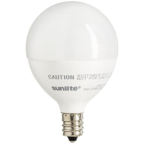 Sunlite LED Globe 40W Equivalent  Dimmable Frosted G16 Bulb, Candelabra Base, Warm White