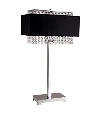 "ORE International 28"" Square Crystal 1-Light Table Lamp, Black"