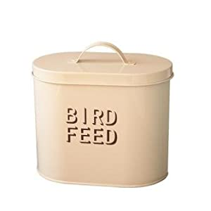 Cream enamel metal bird food storage garden for Bird food holder
