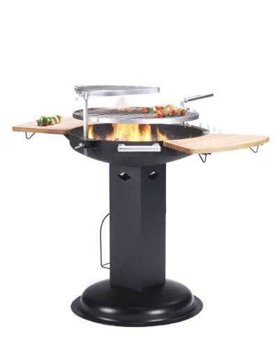 LARGE BENTLEY BBQ PEDESTAL CHARCOAL BARBECUE REMOVABLE 21.5INCH GRILL,WARMING GRILL,2 WOODEN TABLES