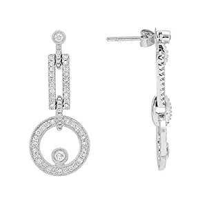 Diamond Circle Earrings in White Gold