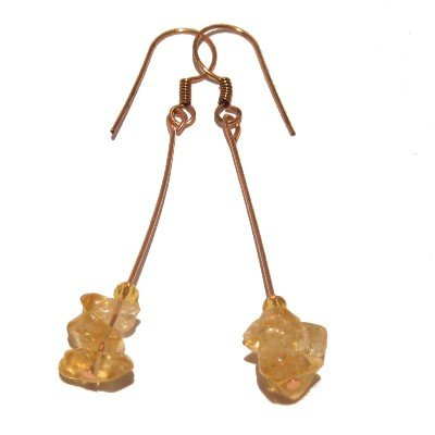 Citrine Earrings 12 Yellow Nugget Copper Cash Stone Crystal Healing 2.5