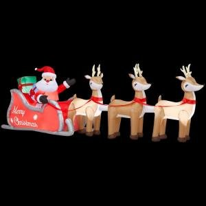 Christmas Decoration Lawn Yard Inflatable Airblown Santa Sleigh With Reindeer 16' Long front-850827