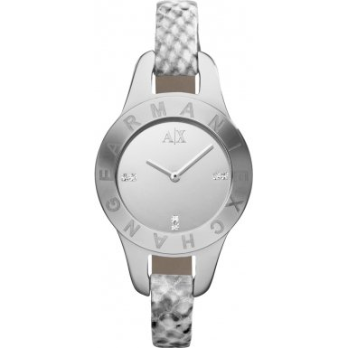 Armani Exchange Silver Dial Python-Stamped Leather Ladies Watch AX4128