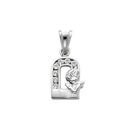 14K White Gold CZ Cubic Zirconia Girl Prayer Charm Pendant
