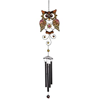 Carson Home Accents Wireworks Chime, 42.5-Inch, Large Glitter Mesh Owl
