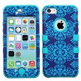 MyBat TUFF Hybrid Phone Protector Cover for iPhone 5c - Retail Packaging - Purple/Blue Damask/Tropical Teal