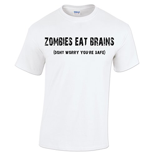 Zombies Eat Brains T Shirt Don't Worry You're Safe Funny Halloween Costume Gift