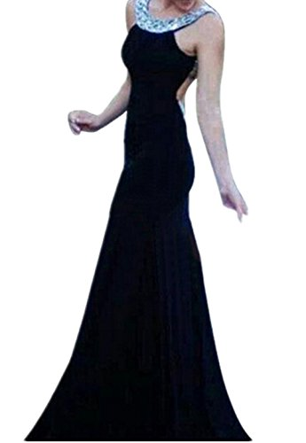 Women'S Sexy Bodycon Prom Ball Evening Cocktail Party Clubwear Long Maxi Dress (L ( Us 8-10 ), Black)