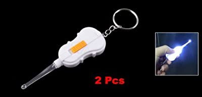 Move&Moving(TM) 2 Pcs Violin Shaped White Light Earpick Earwax Ear Wax Remover Keyring Keychain