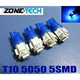 4x 194 168 5-smd Blue High Power LED Car Lights Bulb By Zone Tech