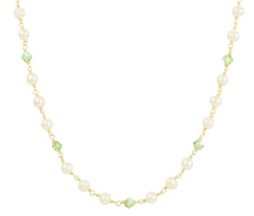 Gold Plated Sterling Silver White Freshwater Cultured Pearl with Crystallized Swarovski Elements August Birthstone Peridot Color Bicone Beaded Necklace, 17
