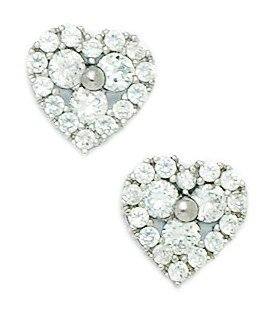 14ct White Gold CZ Big Heart Fancy Post Earrings - Measures 11x11mm