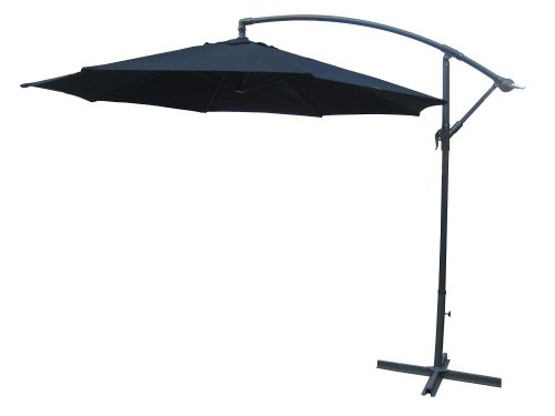 NEW 3M HANGING BANANA GARDEN PATIO UMBRELLA PARASOL - BLACK