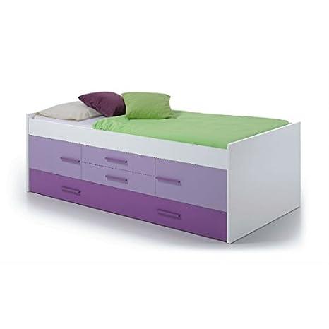Mobimarket - Cama doble JUVENIL 2 puertas y 2 cajones en color blanco y lila