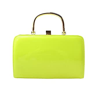 neon yellow gold handle box clutch bag co uk clothing