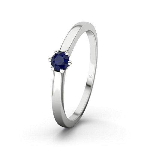 21DIAMONDS Seoul Women's Ring Engagement Ring Round Brilliant Cut Blue Sapphire 9ct White Gold Engagement Ring