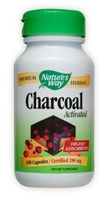 Natures Way Activated Charcoal Intestinal Cleanser Capsule, 260 Mg - 100 Per Pack -- 3 Packs Per Case.