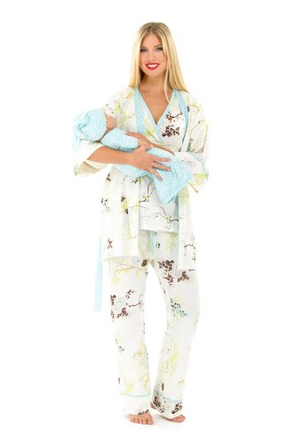 The Olian 5pc. Nursing PJ Set w/ matching Baby Outfit (Medium, Blue Print)