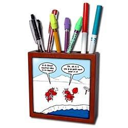 Rich Diesslins Funny General - Editorial Cartoons - Lobster Bad Vacation Spots - Tile Pen Holders-5 inch tile pen holder